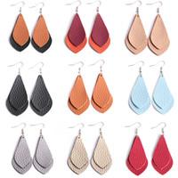 ingrosso gioielli in nappa messicana-Orecchini in pelle piatta multi strato per le donne Bohemian in pelle fatti a mano personalizzati orecchini pendenti gioielli di moda 8 * 3 cm