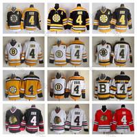 tops de encaje xxl al por mayor-De calidad superior para hombre # 4 Bobby Orr Jersey Boston Bruins Chicago Blackhawks Bobby Orr Camisetas de hockey Vintage CCM 4 Bruins lace Stitched A Patch