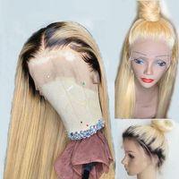 pelucas de pelo largo rubio 24 al por mayor-613 Blonde Ombre 360 Peluca de cabello humano frontal de encaje transparente HD Pre arrancado con cabello de bebé Remy brasileño largo y recto