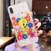 nette ente iphone fälle großhandel-Karikatur TPU transparenter Mobiltelefon-Kasten blaues rotes Blumen-kleines gelbes Enten-nettes Muster für Iphone XS MAX XR X 6 6S 7 8 Livefashion