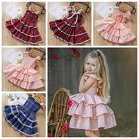Wholesale baby dress online - Summer girls cake layer tutu skirts years suspender grid baby girl dress children princess boutiques clothes kids gifts