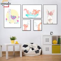 ingrosso verniciature-Elefante in vasca da bagno Stampa Baby Nursery Wall Art Tela Pittura Acquerello Animale Poster Cartoon Picture Dipinti Decor per bambini