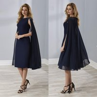 Wholesale knee length navy blue mother bride resale online - Navy Blue Mother Of The Bride Dresses With Wrap Knee Length Cap Sleeves Groom Godmother robe de soiree Chiffon Mermaid Evening Gown