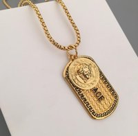 Wholesale gold lion head charms resale online - Mens Hip Hop Designer Jewelry Iced Out Tag Necklace Fashion Bling Bling Lion Head Pendant Men Necklace