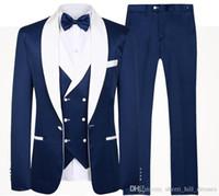 melhor jaqueta de qualidade para homens venda por atacado-2020 Ternos de casamento ternos de alta qualidade Azul Noivo Smoking xaile lapela Groomsmen melhor homem dos homens (jaqueta + calça + Vest + TIE)