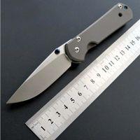 cuchillos cr al por mayor-Clásico pequeño Chris Reeve CR 7 pulgadas D2 hoja de satén titanio plegable Camping caza cuchillo de bolsillo cuchillo de regalo de Navidad