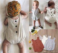 Wholesale infant linens resale online - 2019 New Arrivals Baby Summer Rompers Toddler Sleeveless Jumpsuits Infant Bodysuit Newborn One Piece cm