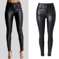 venda de calças de couro feminino venda por atacado-Venda quente-lrain Senhora de Cintura Alta das Mulheres Sexy Faux Leather Stretch Skinny Calças Jeans Slim Calças