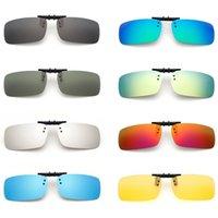 clip lunettes de soleil visions nocturnes achat en gros de-Mode Nouveau polarisé miroir UV400 lentille Clip-on Lunettes de soleil de vision nocturne Flip-up Lunettes Mode Mode polarisé lunettes de soleil Clip de lunettes
