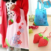 sacs d'épicerie se pliants en nylon achat en gros de-Sac de rangement écologique à la fraise de sacs à provisions pliables à la fraise grand sac en nylon d'épicerie réutilisable 8 couleurs