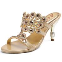 ingrosso scarpe da sera in pelle-2019 Estate donne comode Sexy pantofole in vera pelle strass Party abito da sera scarpe di grandi dimensioni