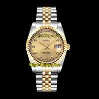 женские наручные часы оптовых-36mm Datejust 126333-62613 Часы унисекс с золотым циферблатом Miyota 8215 Автоматические мужские часы Двухцветная золотая сталь Bacelet Сапфир леди Женские часы