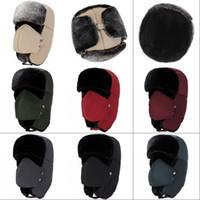 gorras de los hombres rusos al por mayor-Invierno al aire libre Cálido Sombreros Con orejeras Hombres Mujeres Esquí Deporte Gorra a prueba de viento Ushanka Sombrero de felpa ruso 14zq hh