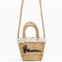 Wholesale small handmade bags for sale - Group buy Flower embroidery Bohemian Straw Bags for Women Kids Small Beach Handbags Summer Vintage Rattan Handmade Kintted Crossbody Bag