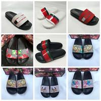 Wholesale leather slippers sandals for sale - Designer Rubber slide sandal Floral brocade men slippers Gear bottoms Flip Flops women striped Beach causal slipper