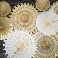 Wholesale hanging paper fans for sale - Group buy 10pc quot cm Snowflake Paper Fan Pinwheels Tissue Paper Fan Hanging Flowers Wedding Party Cake Space Decor