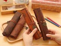 deri kalem kutusu kozmetik çantaları toptan satış-Kozmetik Makyaj Kalem Kalem Retro Deri Çanta Çanta Çanta Case Fold Çanta Moda Öğrenci Kalem Erkek Kız Çocuklar Hediye çanta
