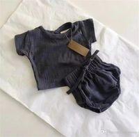 çocuklar kısa şişkinler toptan satış-Yeni INS Yürüyor Bebek Boys Girsl Keten Organik Pamuk Kısa Kollu Tees Suits + Bloomers Setleri Çocuklar Kız Giyim Suits 0-2 T