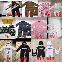 mangas de chapéu venda por atacado-Ins Criança infantil Romper FF Marca Designer roupa do bebê Define Rapazes Meninas completo manga suaves Jumpsuits macacãozinho + chapéu + Bib 3pcs / set C9301 terno