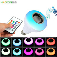 Wholesale music speaker square resale online - HaoXin V E27 Wireless Bluetooth Speaker W RGB Bulb Smart Led Light Music Player Audio with Remote Control Colorful Music Bulb