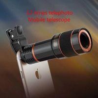 объектив телескопа для мобильного телефона оптовых-Телескопический объектив мобильного телефона с 12-кратным зумом универсальный 12-кратный телескопический телескопический объектив для мобильного телефона HD с объективом внешней камеры