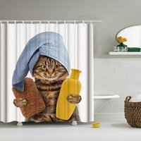 Wholesale fabric shower curtain printed resale online - Funny Cat Take A Bath Printed d Bath Curtains Waterproof Polyester Fabric Washable Bathroom Shower Curtain Screen With Hooks