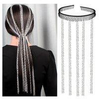 cintas de borla para las mujeres al por mayor-Diseño borla de la cadena diadema más cadenas Declaración tendencia de joyería peine partido de las mujeres Hairband del estilo de pelo accesorios para el cabello de Hip Hop