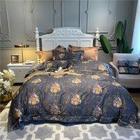 lüks yorgan setleri kral toptan satış-Lüks 600TC Mısır Pamuk Yatak Seti Chinoiserie Çiçeği Chic Yumuşak Nevresim Kraliçe Kral Comforter Kapak Çarşaf