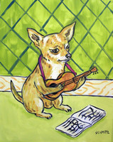 Wholesale art painting guitar resale online - Animals Art Chihuahua Dog Playing Guitar Oil Painting Reproduction High Quality Giclee Print on Canvas Modern Home Art Decor
