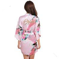 hochzeitsfeier satin roben großhandel-Mode Brautparty Robe Brief Braut auf der Robe Zurück Frauen Kurze Satin Hochzeit Kimono Nachtwäsche Spa Roben für Damen