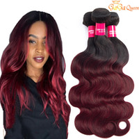 Wholesale burgundy wine human hair weave resale online - Brazilian Ombre Hair B J Body Wave Bundles Unprocessed Grade A Burgundy Wine Red Ombre Human Hair Weaves Extensions Length Inch
