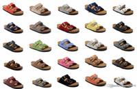zapatos del color neutral al por mayor-802 Arizona 2018 Venta caliente verano Mujeres y hombres sandalias planas Zapatillas de corcho zapatos casuales unisex imprimir colores mezclados tamaño 34-46