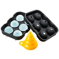 bolas de gelo de silicone venda por atacado-Eco-Friendly 6 Buraco Cube Cocktail Ice Bola Criador Partido Bar Silicone Hóquei no Gelo molde com Mini Funnel