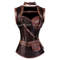corsé halter marrón al por mayor-Steampunk Corset Espiral Acero Deshuesado Cinturón de cuero marrón Gótico Bustier con chaqueta halter Lencería Disfraces de moda