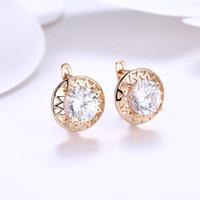 Wholesale flower wind resale online - Aaaaajewelry Round Diamond Romantic Wind Earrings Women s Champagne Gold Fashion Earrings Shining Rhinestone Jewelry Girl Holiday Gift