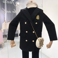 kore çift göğüslü kat toptan satış-Kruvaze Pamuk Ceket Kadın Kış Yeni Kore Uzun kollu Yün Ceket D976