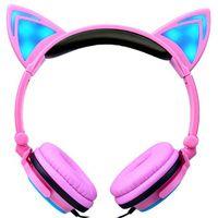 Wholesale headphones cats resale online - 2019 Cat Ear headphones LED Ear headphone cat earphone Flashing Glowing Headset Gaming Earphones for Adult and Children