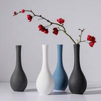 decoração de cerâmica azul venda por atacado-2019 Modern simples Moagem Vaso De Cerâmica Tabletop Preto Branco azul cinza pequeno vaso de flores Secas recipientes de decoração para casa Presente