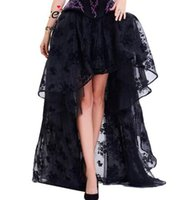 Long Maxi Steampunk Elastic Skirts Women Black Fluffy Tulle Skirt Ruffled Chiffon Lace Midi Gothic Corset Skirt
