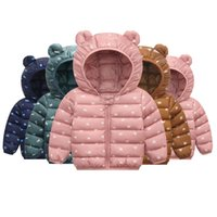 ingrosso giacche di nylon coreane-Vendita al dettaglio luce invernale Moda bambini giacca fumetto giù orecchio coreano giacca con cappuccio pelliccia neve ourwear abbigliamento cappotti Kids Designer