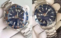 auto gmt uhren groihandel-Heiße Selling-automatische GMT Cal.8605 Blau Keramik-Lünette Zifferblatt Uhr Auto Date Ocean 600 m Co-Axial-Uhr-Mann-Saphir-Master-Armbanduhren
