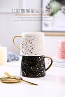 becher tasse box großhandel-Kreative Kaffeetasse des Instagram-Goldgriffbechers mit keramischem Becherweihnachtsgeschenk des glücklichen sternenklaren Himmels des Deckels und der Goldlöffelgeschenkbox