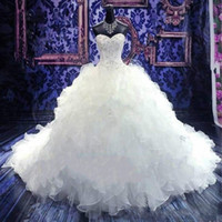 Wholesale organza pink skirt online - Luxury Beaded Embroidery Wedding Dresses Princess Gowns Sweetheart Corset Organza Cathedral Church Ball Gown Bride Dress