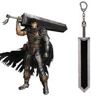 colgante de espada de aleación al por mayor-Berserk Guts Llavero Legend Warrior Black Zinc Alloy Sword Pendant Keyring New Key Chains Car Men Anime Accesorios
