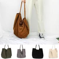 bolsas de compras reutilizables de moda al por mayor-bolso de diseño de pana en moda mujer de gran capacidad femenina bolso grande de asas plegables bolsas de compra reutilizables de tela delgada correa bolsas