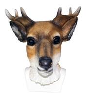 ingrosso maschere di cervi-Animal Deer Mask Latex Full Head Reindeer Costume Mask Horns Fancy Giraffe Dress Puntelli Cosplay Party Formato adulto