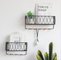 Wholesale wall hanging storage for home resale online - Hanging Storage Baskets with Hooks Metal Wall mounted Entryway Letter Key Rack Wire Shelf for Home Office School