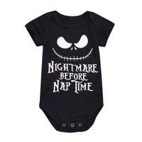bebek tek parça gövde toptan satış-Moda Bebek Erkek Kız Cadılar Bayramı Tek parça Bodysuit Kabus Önce Şekerleme Zamanı Baskı Giysileri Bebek Tulum Kıyafet Bebek Vücut Suit