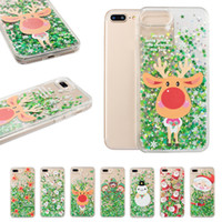 Wholesale santa claus glitter for sale - Christmas Series Quicksand Back Cover Glitter Cute Santa Claus Deer PC Clear Soft TPU Case for iPhone XR XS Samsung S8 S9 OPP Bag