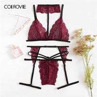 dbcda090b mulher rosa liga venda por atacado-COLROVIE Borgonha Scalloped Guarnição  Floral Lace Garter Tangas E